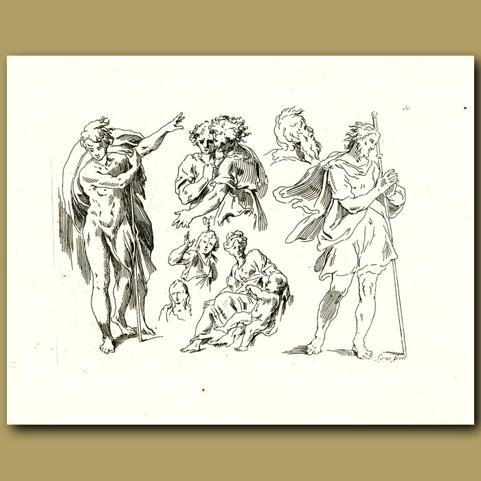 Antique print. Drawings Of Movement In People