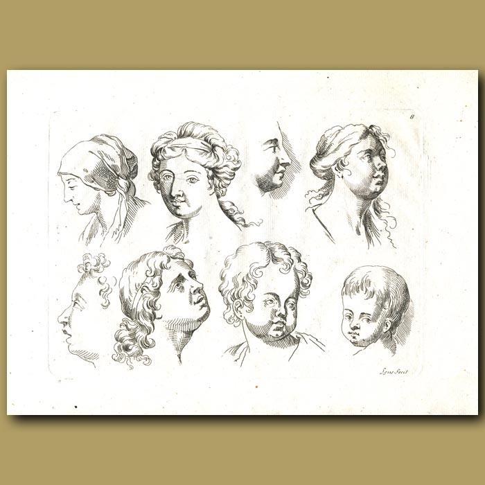 Antique print. Studies Of The Head