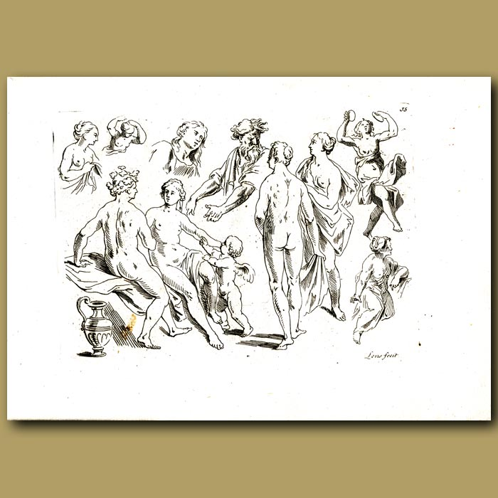 Antique print. Drawings Of Women In The Classical Style