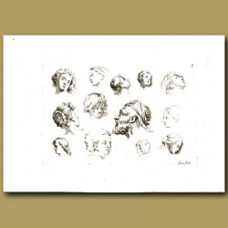 Sketches Of Heads Of Men, Women And Children