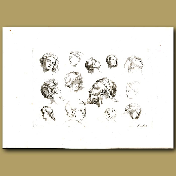 Antique print. Sketches Of Heads Of Men, Women And Children