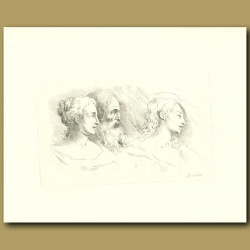 Classical Drawing Of A Man And Two Women
