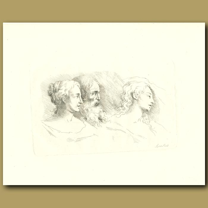 Antique print. Classical Drawing Of A Man And Two Women