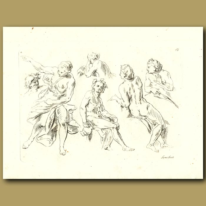 Antique print. Drawings Of Men And Women