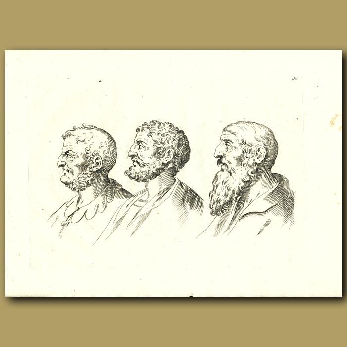 Antique print. Portraits Of Three Men