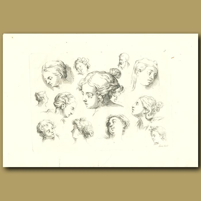 Antique print. Drawings Of Women And Children's Head