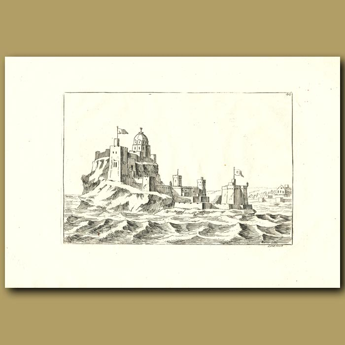 Antique print. Island Fortification