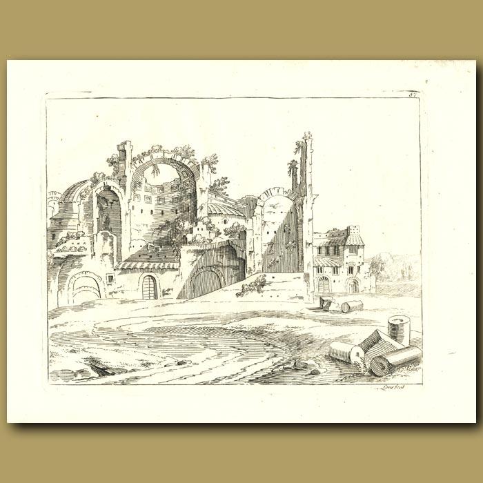 Antique print. Greek Ruins