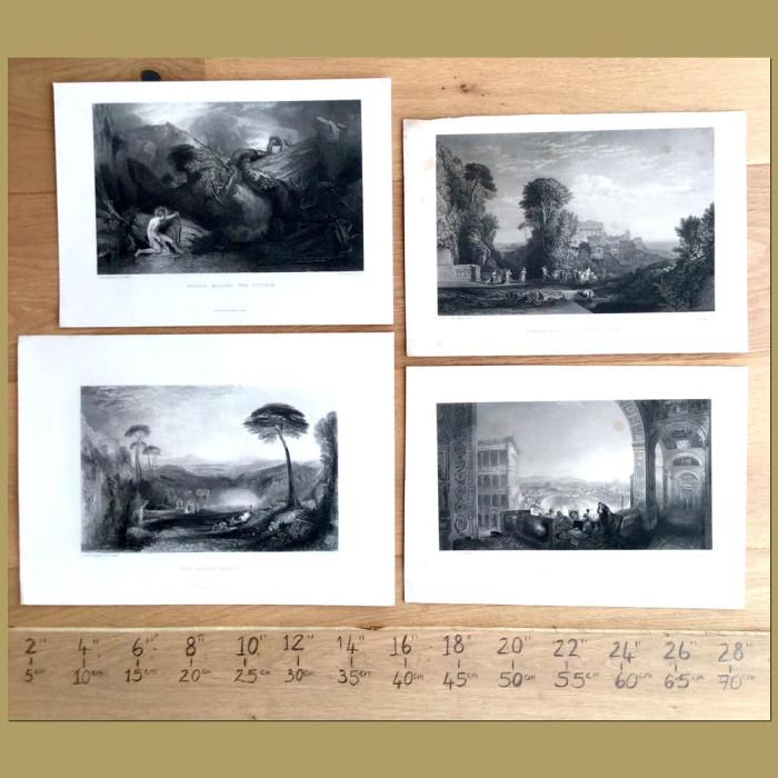 Set of 4. Landscape views: Genuine antique print for sale.