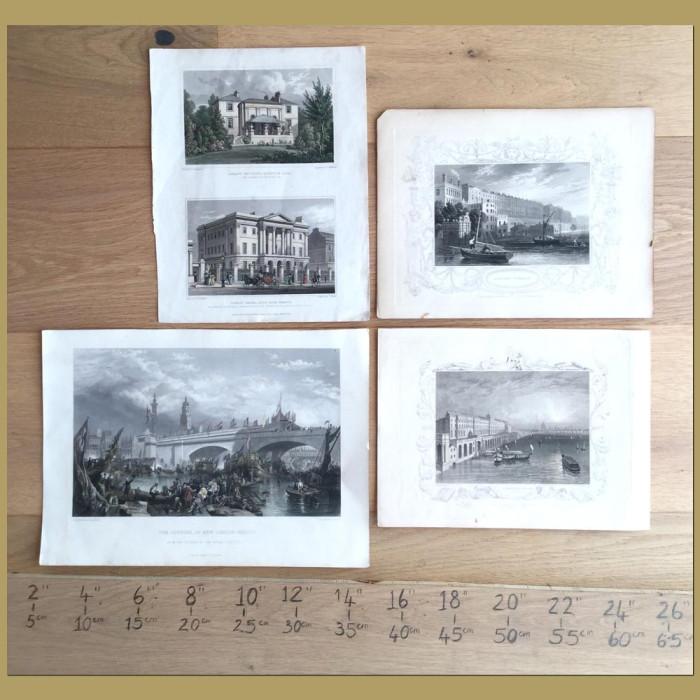 Set of 4. London Buildings: Genuine antique print for sale.