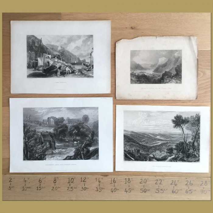 Set of 4. English Countryside Views: Genuine antique print for sale.