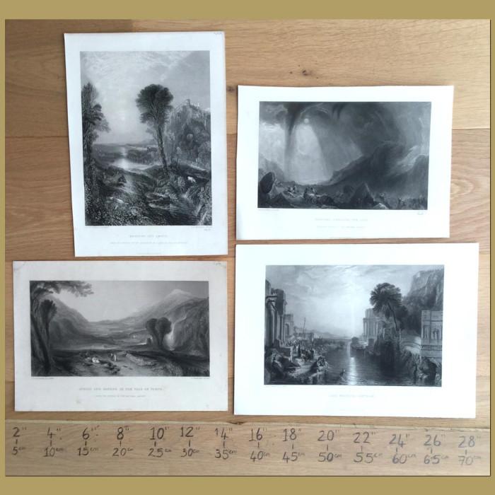 Set of 4. Landscape engravings: Genuine antique print for sale.