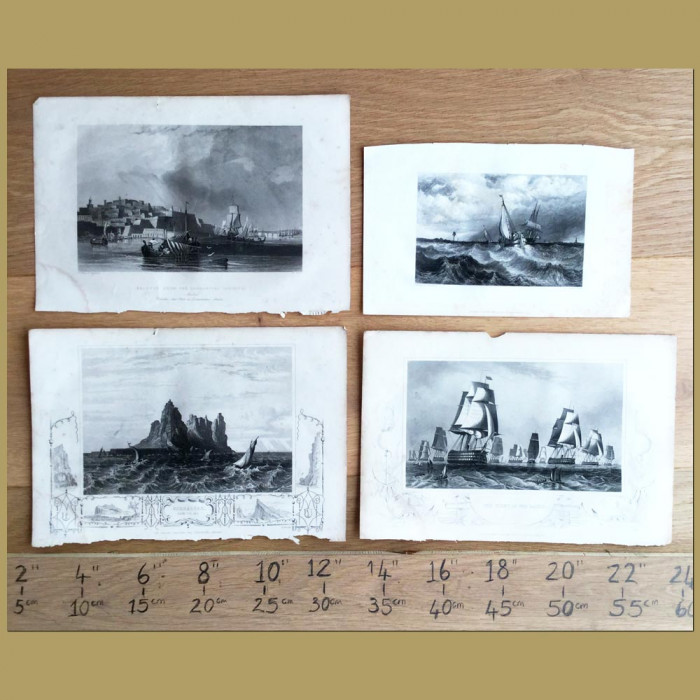 Set of 4. Ships at Sea: Genuine antique print for sale.