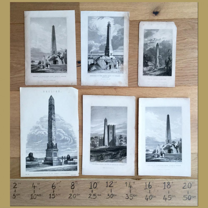 Set of 6. Towers and Obelisks: Genuine antique print for sale.