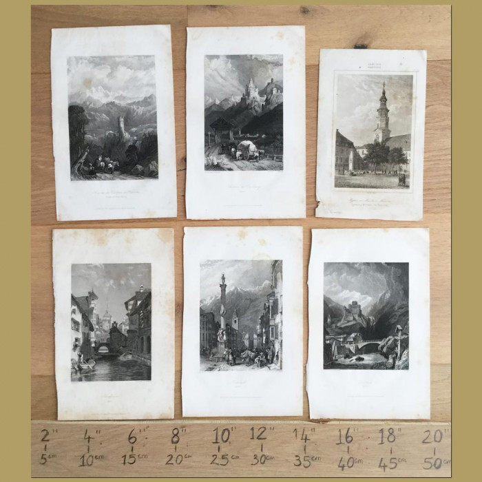 Set of 6. Castles and Cities in Europe: Genuine antique print for sale.