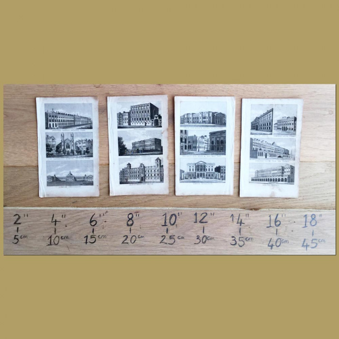 Set of 4. Famous Buildings in London: Genuine antique print for sale.
