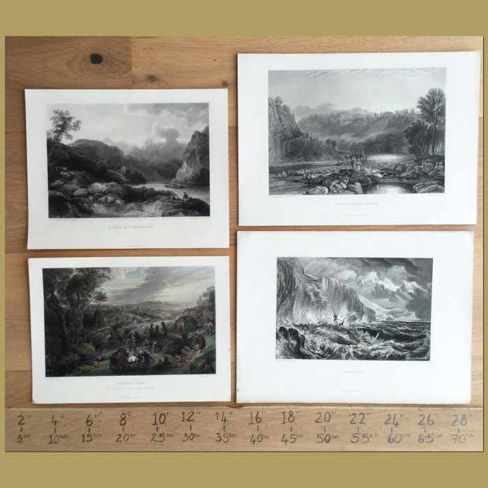 Set of 4. English Countryside, Lakes and Coast: Genuine antique print for sale.