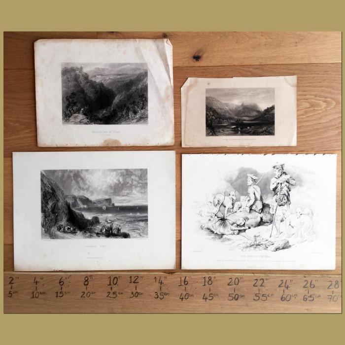 Set of 4.Coast and Landscape Views: Genuine antique print for sale.