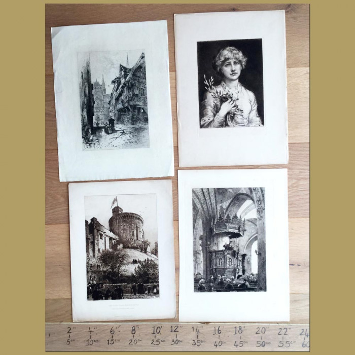 Set of 4. City Views, Portait and Church: Genuine antique print for sale.