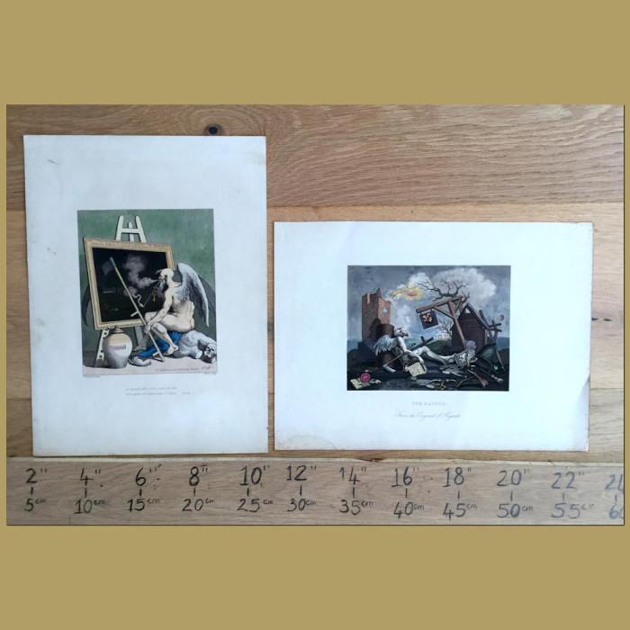 Set of 2. Satyrical Engravings: Genuine antique print for sale.