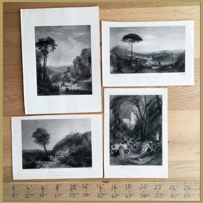 Set of 4. Landscapes in Italy: Genuine antique print for sale.