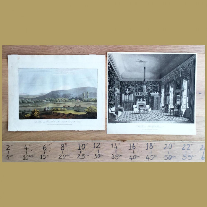 Set of 2. Buckingham House and Greek Landscape: Genuine antique print for sale.