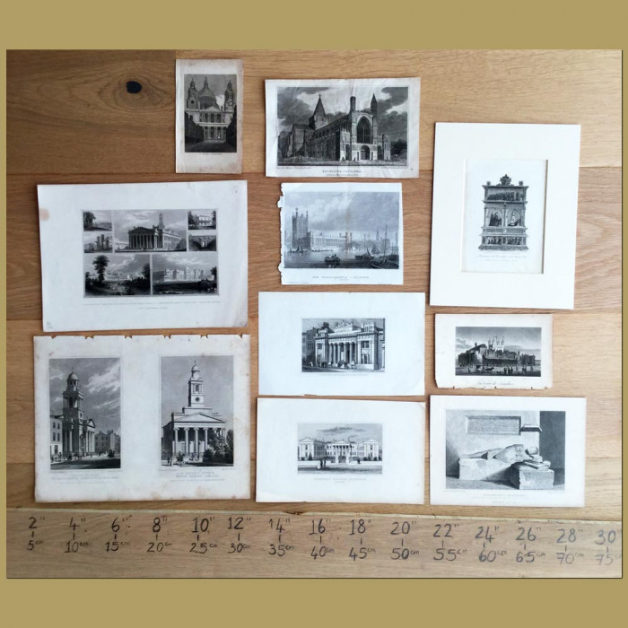 Set of 10. Buildings in London: Genuine antique print for sale.