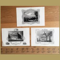 Set of 3. American State Buildings
