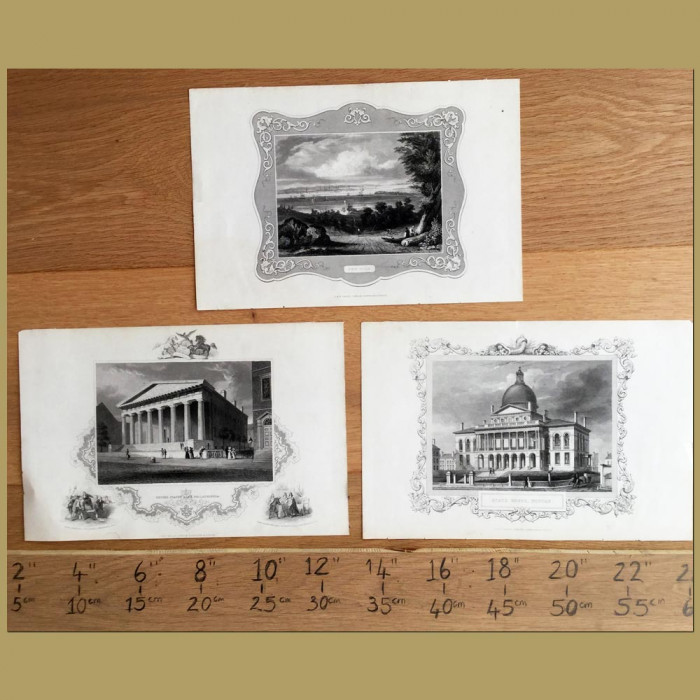 Set of 3. American State Buildings: Genuine antique print for sale.