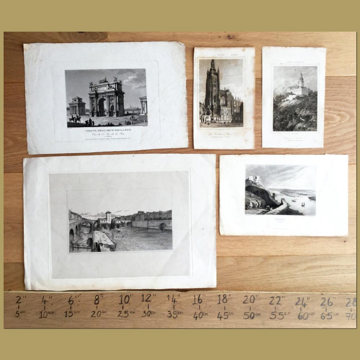 Set of 5. Views in Europe: Genuine antique print for sale.