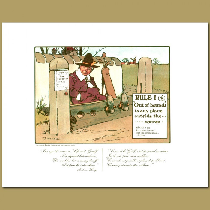 Antique print. Rule I (g) Out of Bounds is any place outside the course