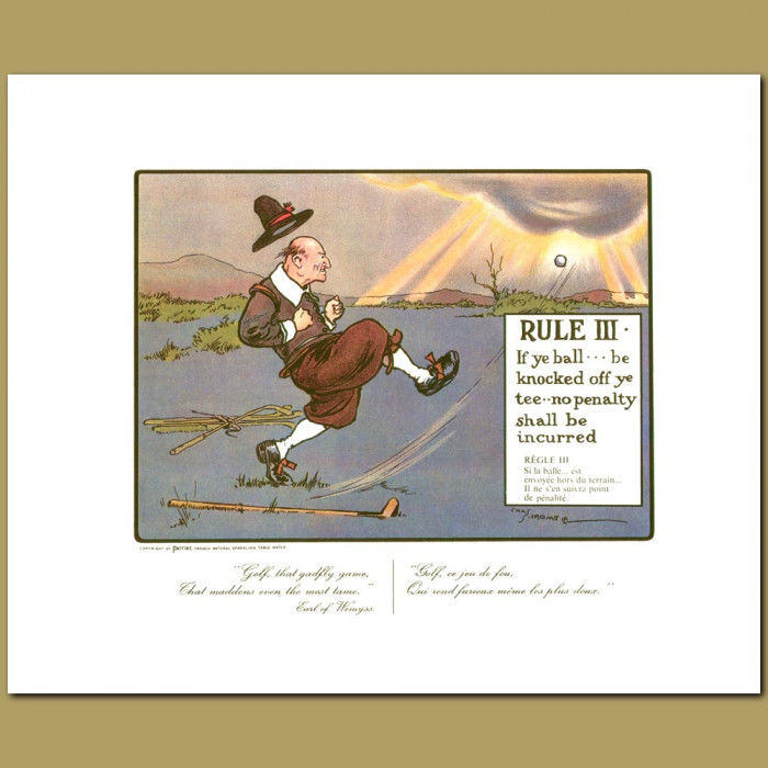 Antique print. Rule III If ye ball be knocked off ye tee no penalty shall be incurred