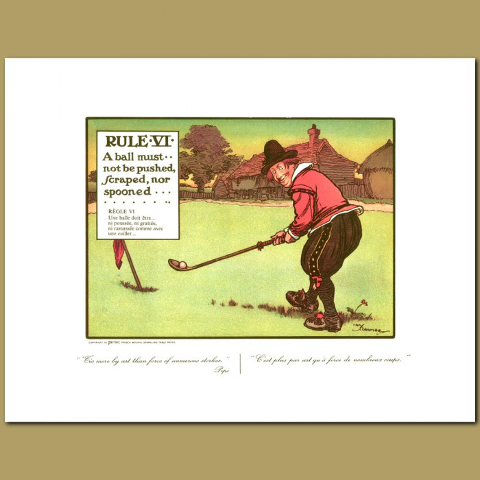 Antique print. Rule VI A ball must not be pushed, scraped nor spooned