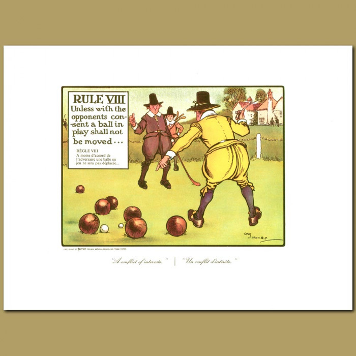 Antique print. Rule VIII Unless with the opponents consent a ball in play shall not be moved