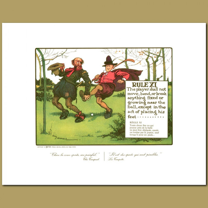 Antique print. Rule XI The player shall not move, bend or break anything fixed or growing near the ball, except in