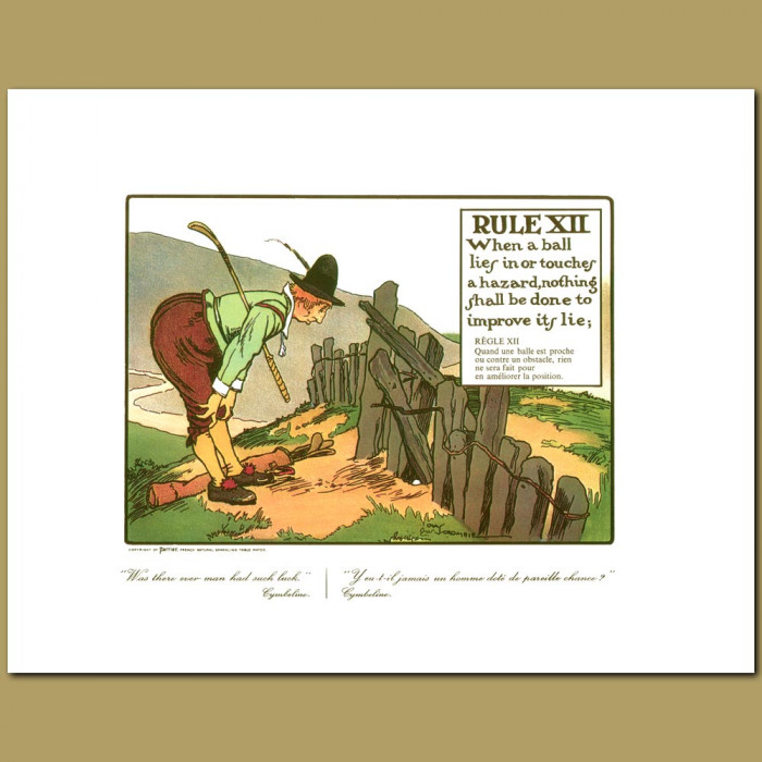 Antique print. Rule XII When a ball lies in or touches a hazard, nothing shall be done to improve its lie