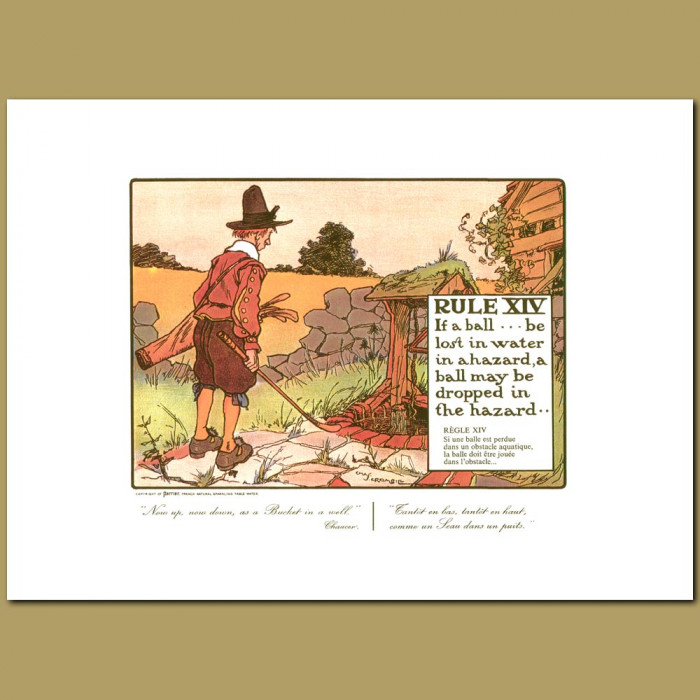 Antique print. Rule XIV If a ball be lost in water in a hazard, a ball be dropped in the hazard