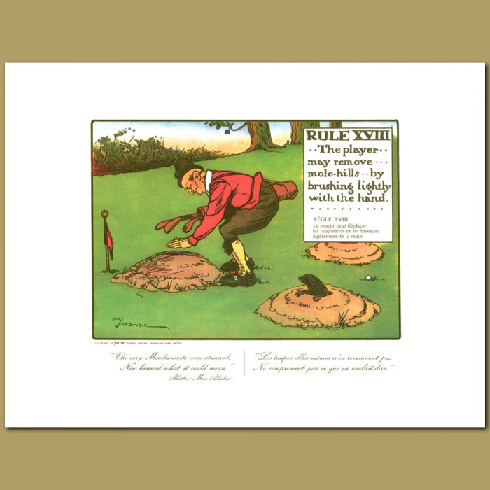 Antique print. Rule XVIII The player may remove mole-hills by brushing lightly with the hand