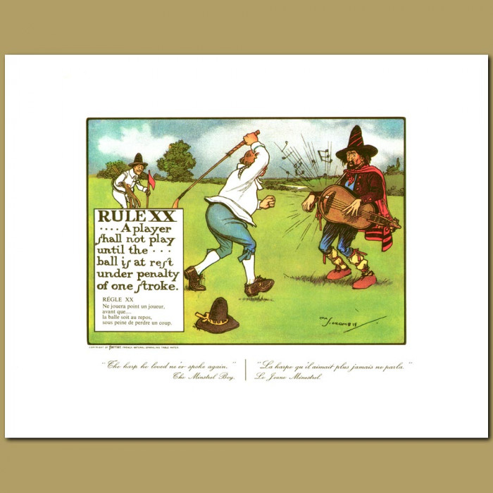 Antique print. Rule XX A player shall not play until the ball is at rest under penalty of one stroke