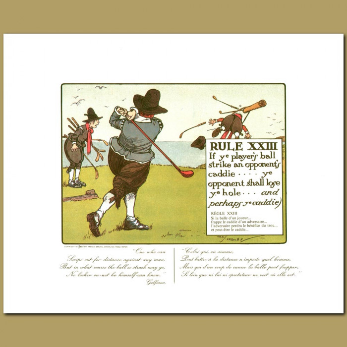 Antique print. Rule XXIII If ye player's ball strike an opponent's caddie ye opponent shall lose ye hole