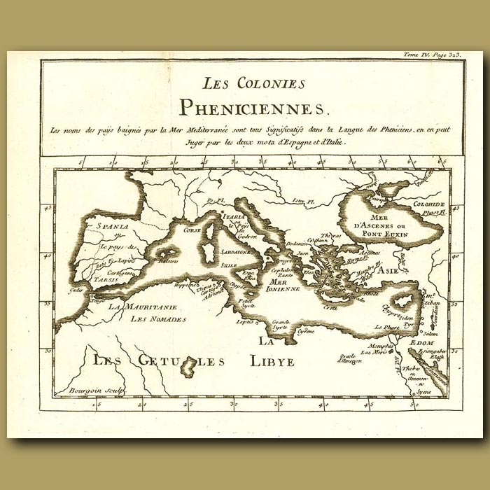Antique print. Map Of The Mediterranean And Phoenecian Colonies