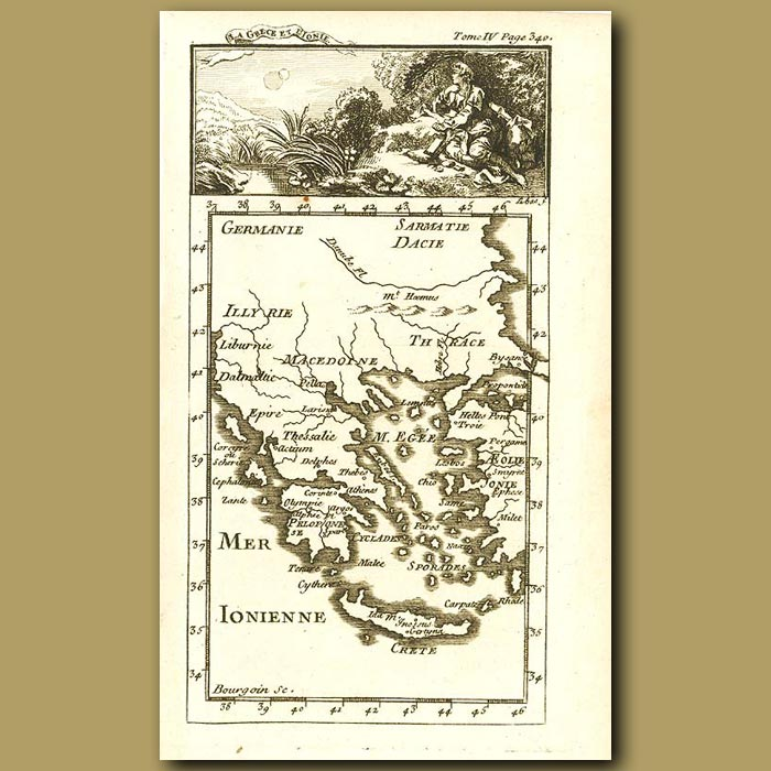 Antique print. Map Of Greece
