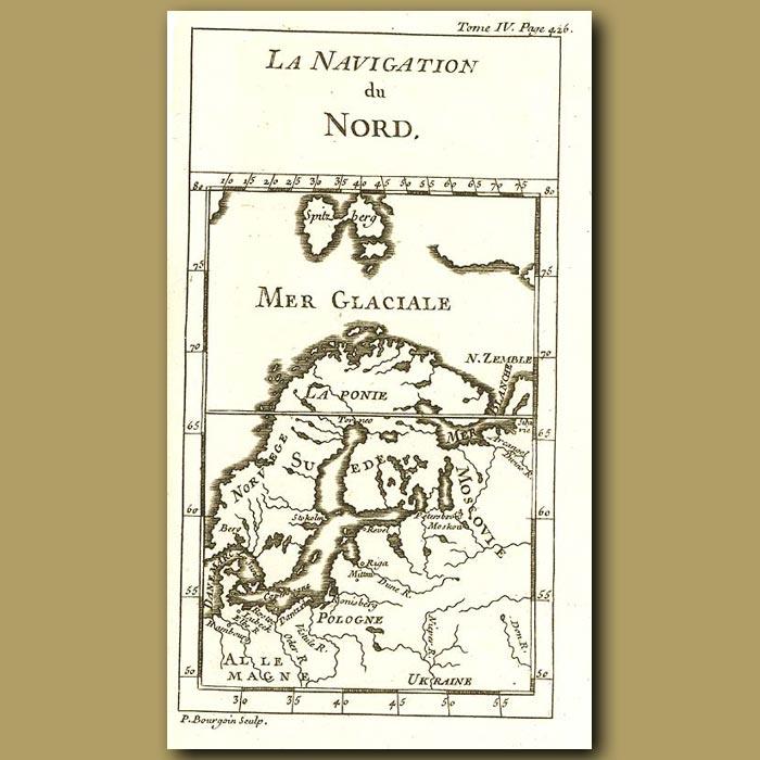Antique print. Map Of Scandinavia