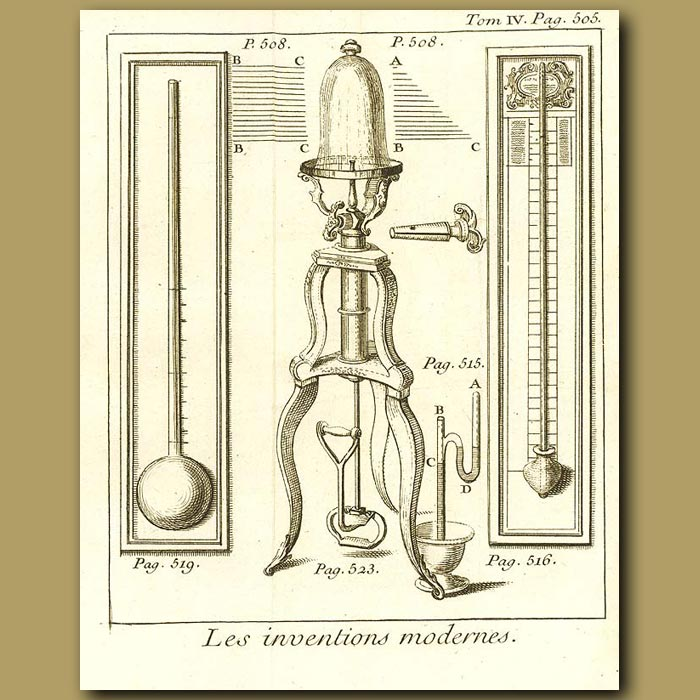 Antique print. Thermometer, Pneumatic Machine And Barometer