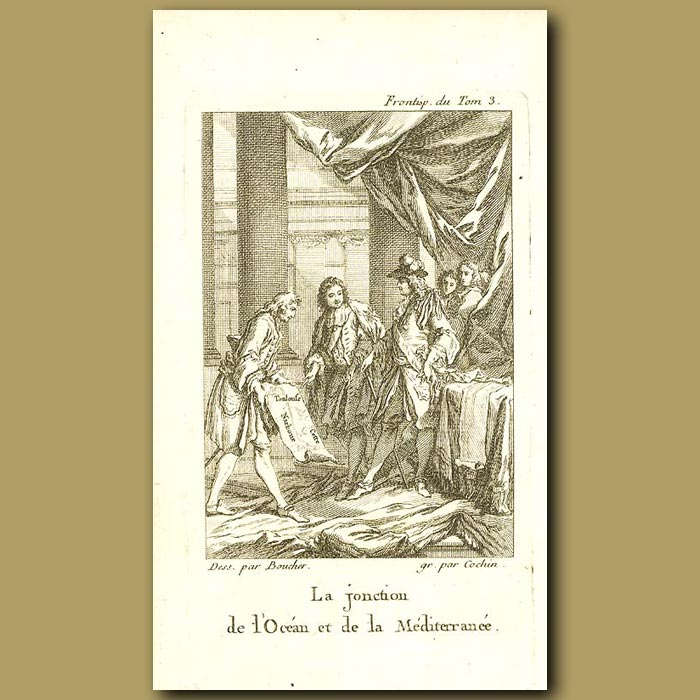 Antique print. La Jonction De L'ocean Et De La Mediterranee