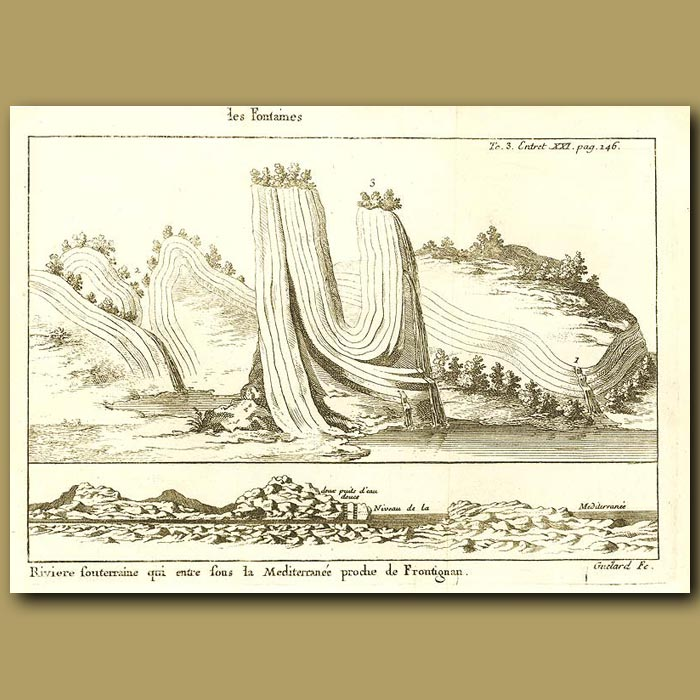 Antique print. Mountains And A River Entering Into The Mediterranean
