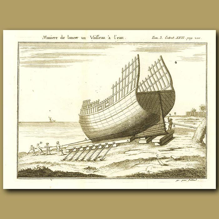 Antique print. Hull Of A Ship Out Of The Water