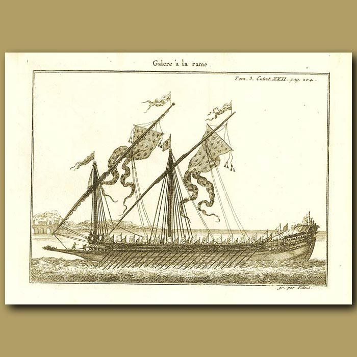 Antique print. Galley With Oars