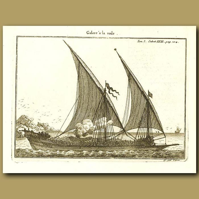 Antique print. Galley With Sails