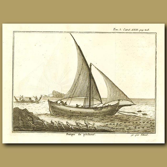 Antique print. Fishing Barque